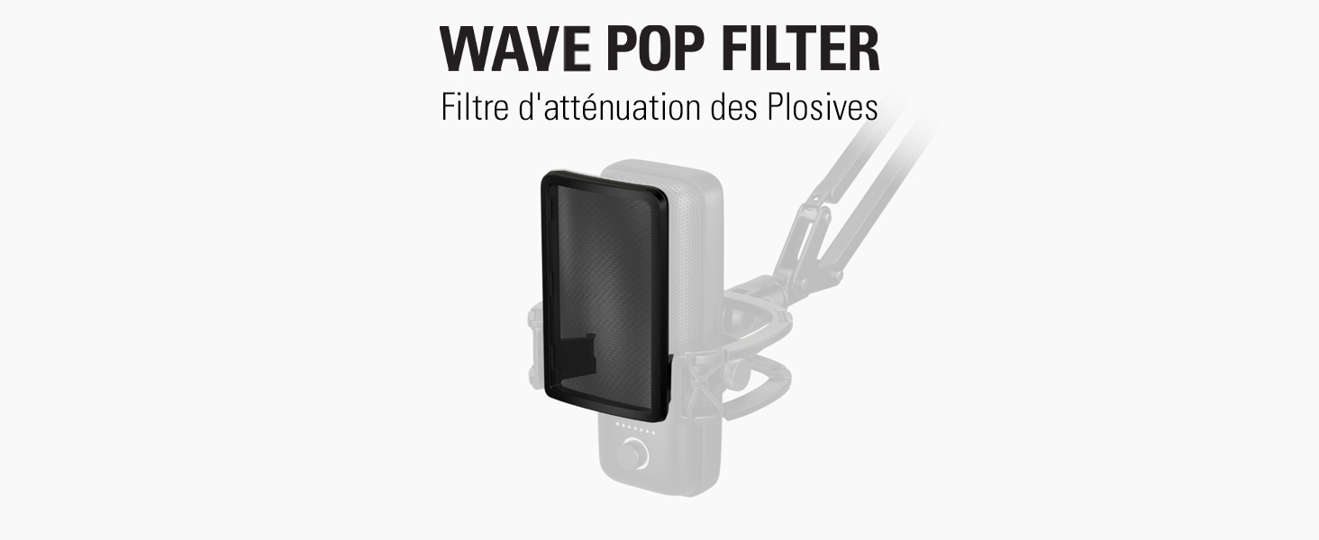 Pop Filter 2 tiges en Acier Isolation maximale Filtre d/'att/énuation des plosives pour l/'/élimination Extension Rods Elgato Wave Micro USB /à condensateur Shock Mount