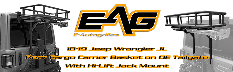 5f8a608f870f EAG Rear Cargo Carrier Basket on OE Tailgate with Hi-Lift Jack Mount Fit  for 18-19 Jeep Wrangler JL