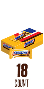 Snickers Peanut Butter Squared Singles Size Chocolate Candy Bars 18-Count Box