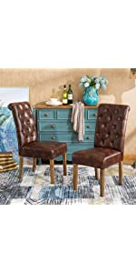 Roundhill Furniture Habit Solid Wood Tufted Parsons Dining Chair Faux Leather Chairs With Frame Set Of 2