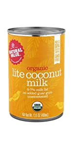 organic natural value lite light coconut milk