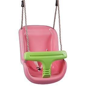 Ultrakidz Asiento de columpio Basic para bebé con estribo de protección y cinturón, columpio para bebés, Rosa/Manzana Verde