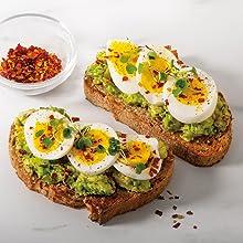 electric egg cooker maker deluxe rapid boiler hard boiled poacher food vegetable avocado toast