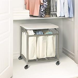 sevilleclassics mobile rolling movable laundry hamper sorter push cart trolley organizer ironing