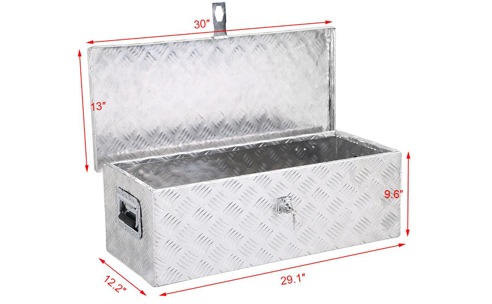 Yaheetech 30 x 13 Aluminum Tool Box Pickup Truck Bed Storage w//Lock