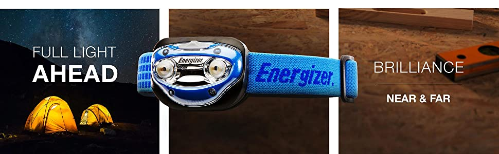 full light ahead, brilliance near and far, Energizer LED Headlamp with Vision HD, blue headlamp