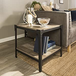 new product abdad ea16f WE Furniture Angle Iron Wood End Tables in Driftwood - Set of 2
