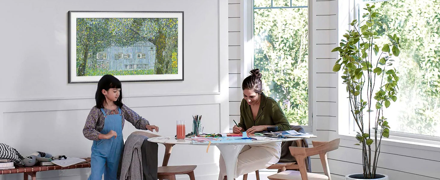 The Frame displaying art in a dining room