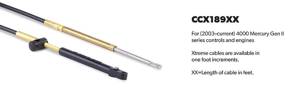 SeaStar CCX189 XTREME Gen II Control Cable for Mercury 4000 Series Controls