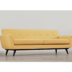 Tov Furniture James Mid-Century Modern Mustard Linen Sofa, Yellow