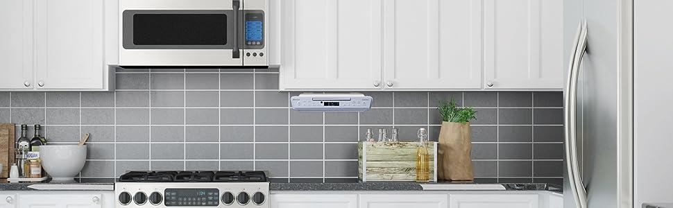 Lenco Kcr 11 Küchenradio Unterbauradio Led Display 5 Sender Speicherplätze Inklusive Montagesatz Weiß Heimkino Tv Video