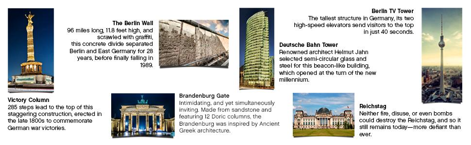 victory column, the berlin wall, brandenburg gate, berlin TV tower, reichstag, deutsche bahn tower