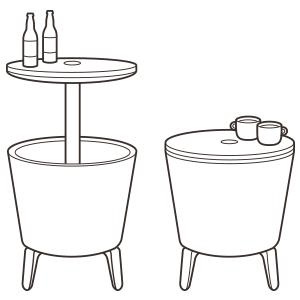 coffee table, cocktail table, cooler, bar table, patio table