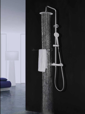Elbe Columna de ducha con termostato, sistema de ducha en acero ...