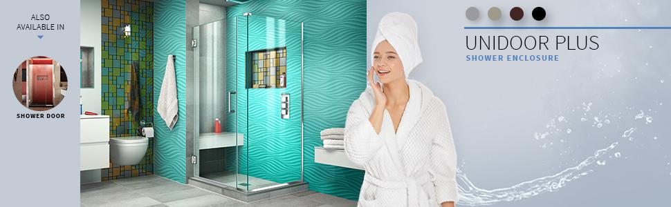 DreamLine, shower, shower doors, best shower, frameless hinged shower enclosure, shower enclosures