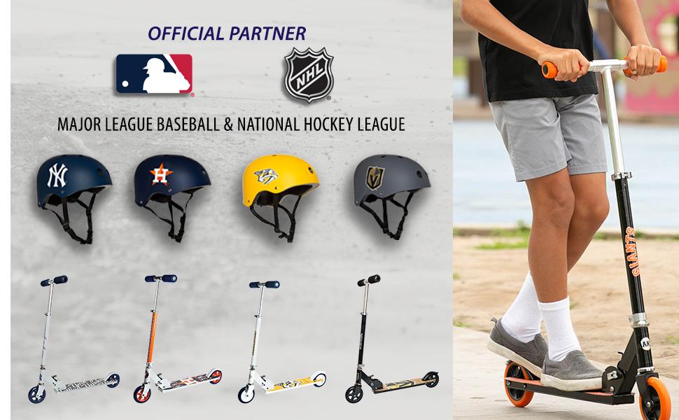 Fold Scooter, Youth Helmet, MLB Helmet, NHL Helmet, Astros, Yankees, Dodgers, Bruins, Giants