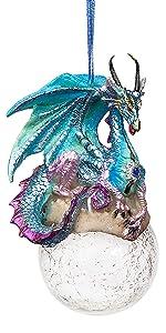 Design Toscano Objet décoratif des fêtes 2013 Frost le dragon gothique, en couleurs