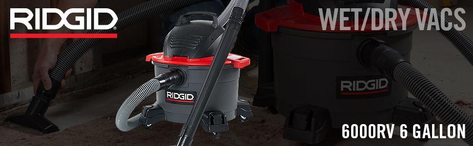 Ridgid Shop Vac Casters >> Amazon.com: RIDGID 50308 6000RV Portable Wet Dry Vacuum, 6 ...