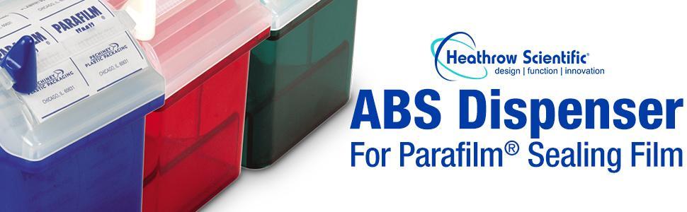 "ABS Dispenser Parafilm Sealing Film Heathrow Scientific label tape tough-tag safe cut blade 2"" roll"