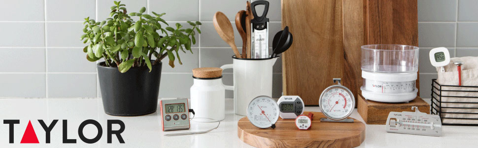 taylor, thermometer, scale, timer, kitchen, cooking, temperature, weight, food, therm
