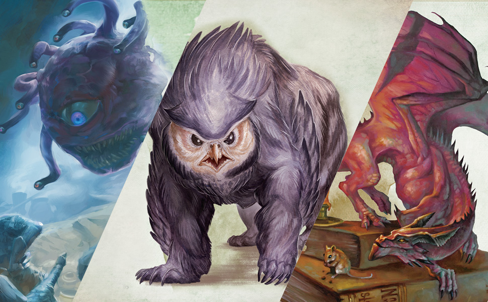Beholder, Owlbear, Pseudodragon