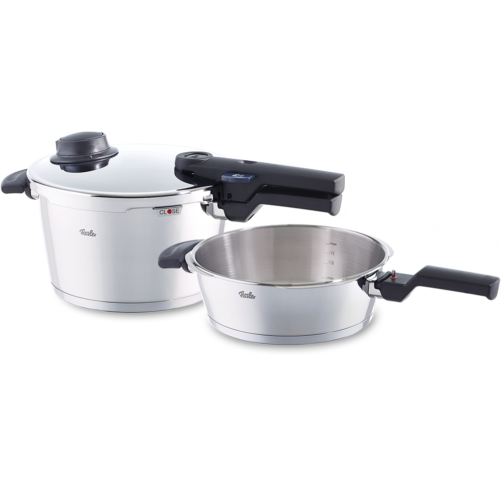 fissler schnellkochtopf set vitavit comfort 2 teilig schnellkochtopf 4 5 l u. Black Bedroom Furniture Sets. Home Design Ideas