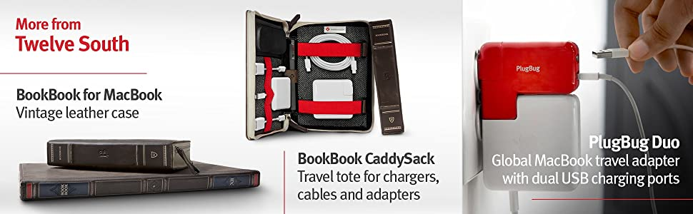 bookbook for macbook, leather case, bookbook caddysack, travel tote, chargers, cables, adapters