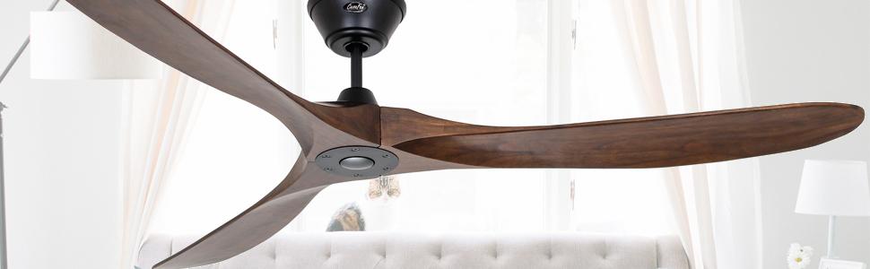 CasaFan 318017 Eco Genuino 180 Ventilateur de plafond en bois massif noyer/noir mat