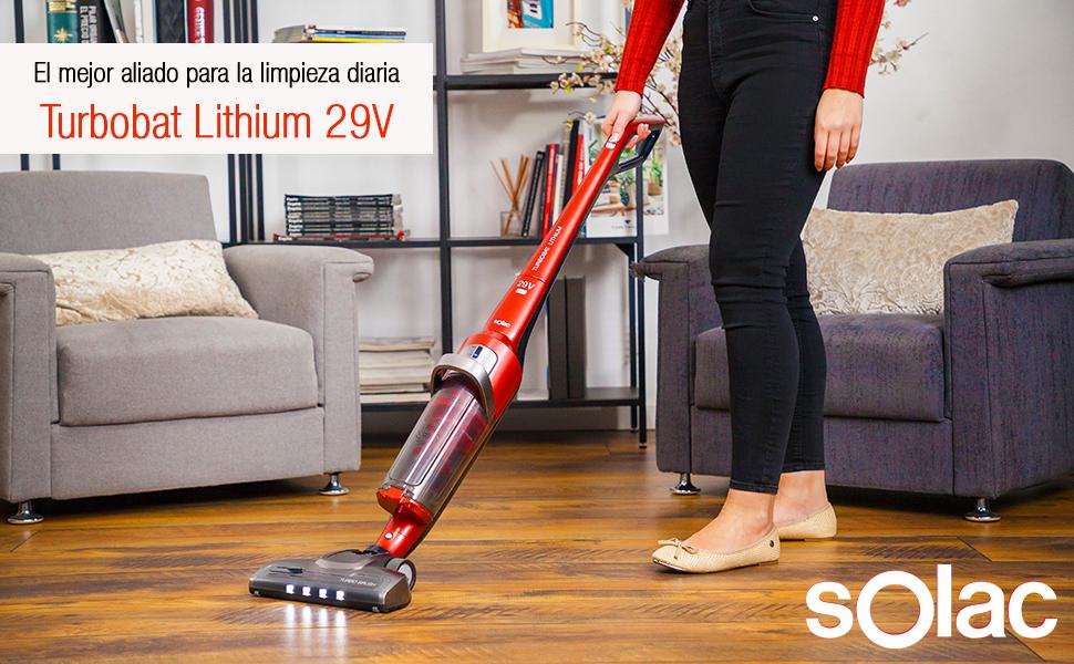 Solac AE2529 Turbobat Lithium 29V Escoba de Aspirar Potente de ...