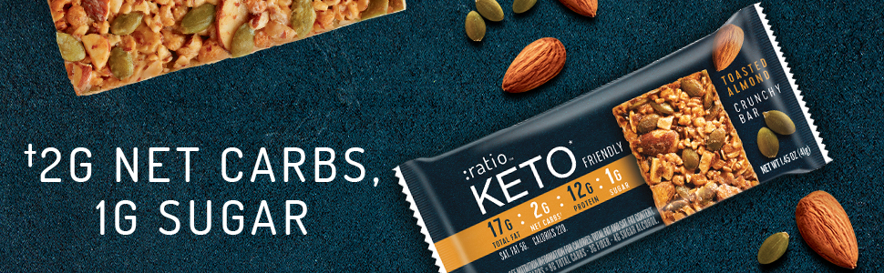 :ratio KETO friendly crunchy snack bars with toasted almonds