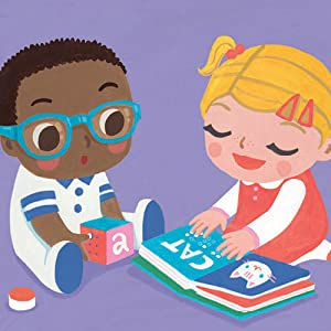"""A Black toddler with glasses looks on while a blond toddler reads """"cat"""" in Braille"""