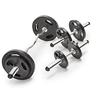Marcy Solid Steel Olympic Weight Bar and Weight Plate Collars Chrome-SOC-49