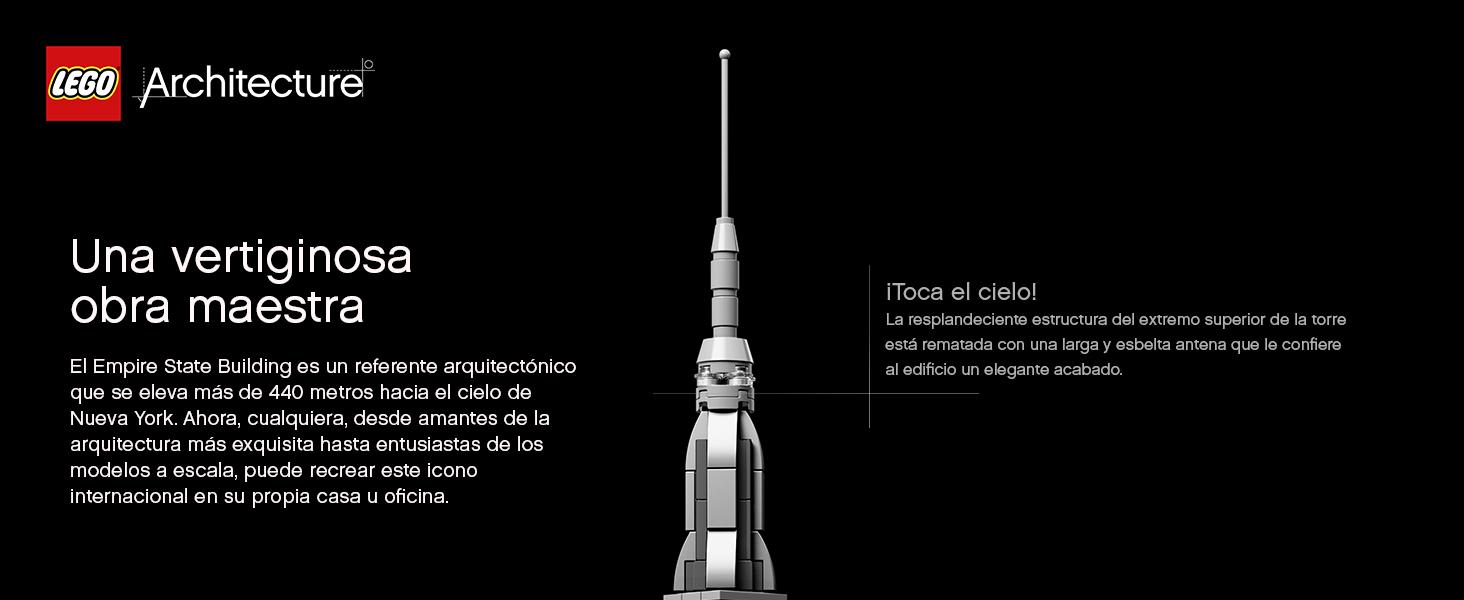 LEGO 21046 Architecture Empire State Building, Set de Construcción, Modelo de Coleccionista, Maqueta Decorativa, +16 años