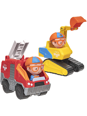 Amazon Com Blippi Mini Vehicles 2 Pack Excavator And Fire Truck Toys Games