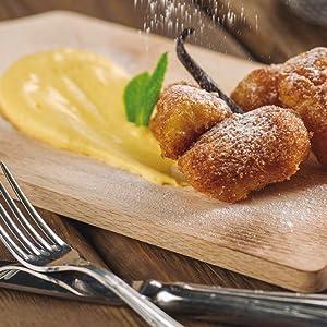 Bocaditos fritos de crema de vainilla