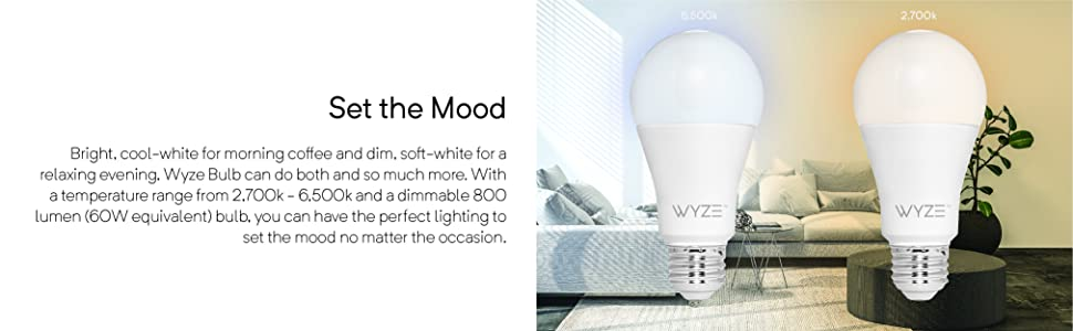 mood lighting, dimmable, color temperature, 800 lumen, 60w equivalent