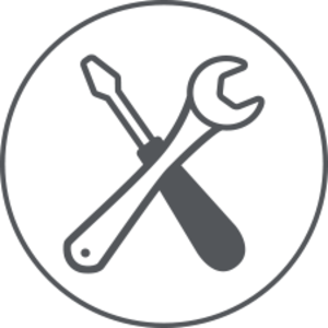 Graphic showing a screwdriver and wrench
