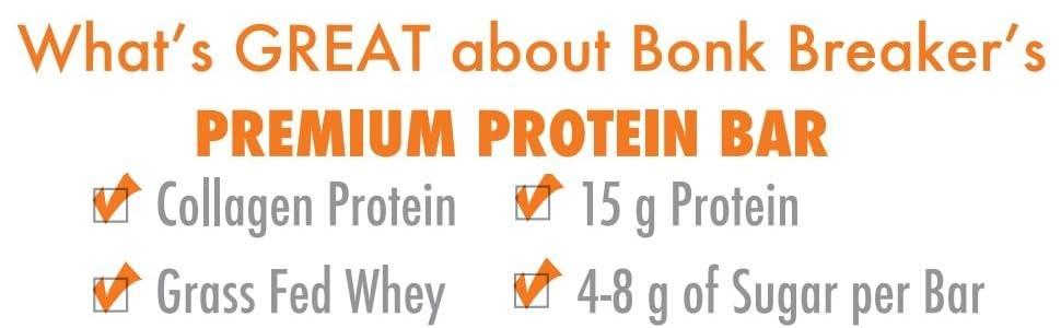 Bonk Breaker Collagen Protein Bar, Peanut Butter & Dark Chocolate Chip, 1 8  Oz (12 Count), Gluten