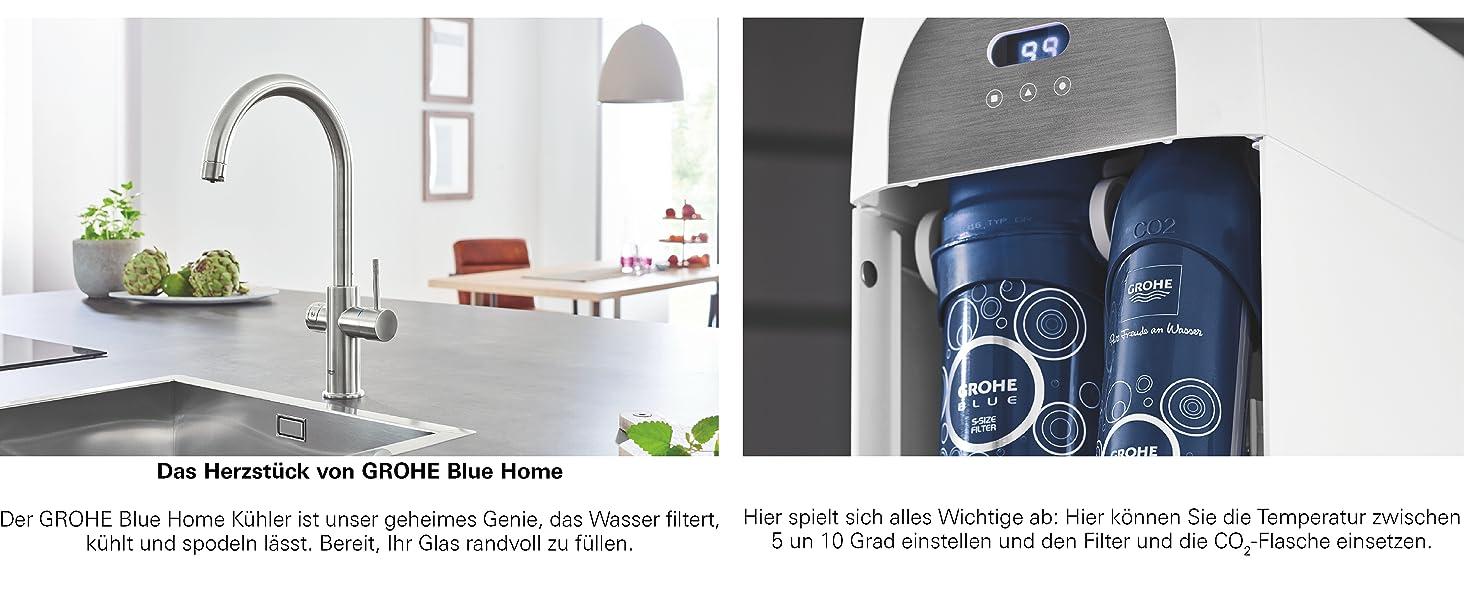 GROHE Blue Home Duo, Küchenarmatur - 2-in-1 TRINKWASSERSYSTEM und ...