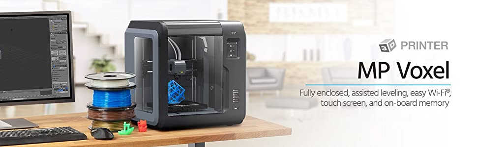 MP Voxel 3D Printer, Fully Enclosed, Assisted Level, Easy Wi-Fi, Touch Screen