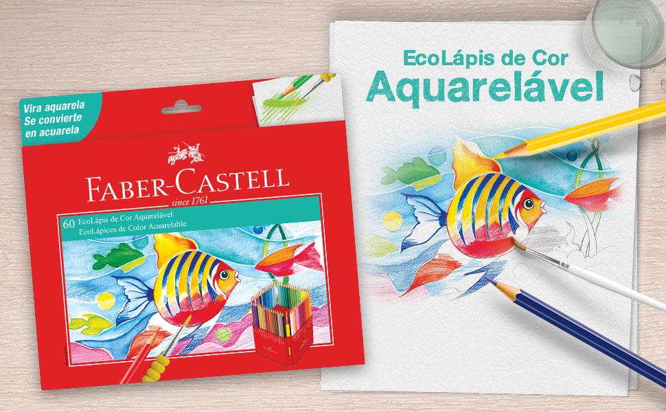 ecolápis de cor aquarelável, lápis aquarela, aquarela, lápis colorido aquarela, faber-castell
