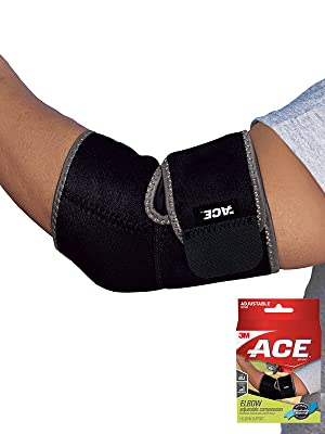 Person wearing the ACE Brand Adjustable Elbow Support