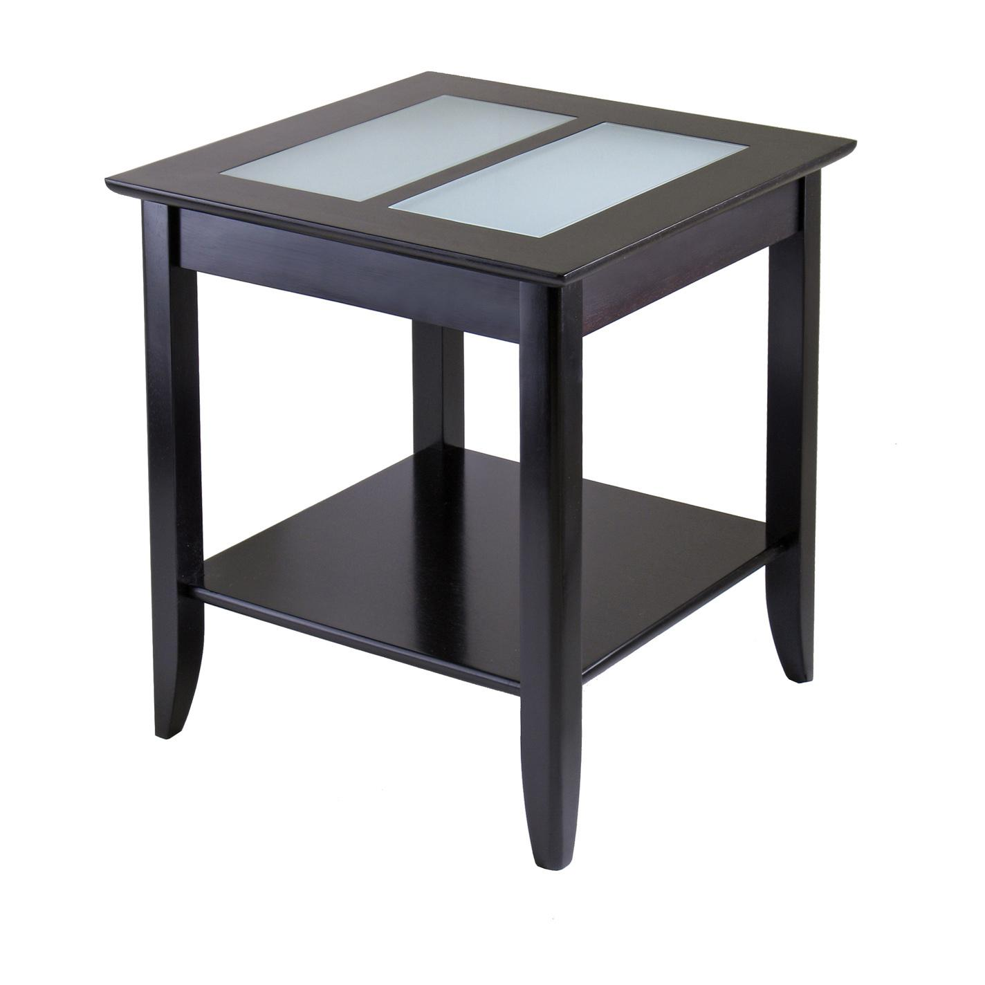 Amazon Winsome Wood Syrah End Table with Frosted Glass Shelf