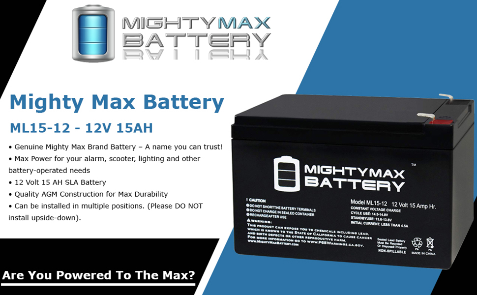 Mighty Max Battery ML15-12 12V 15AH F2 UPS Battery for Elgar SPS1000-6 Pack Brand Product