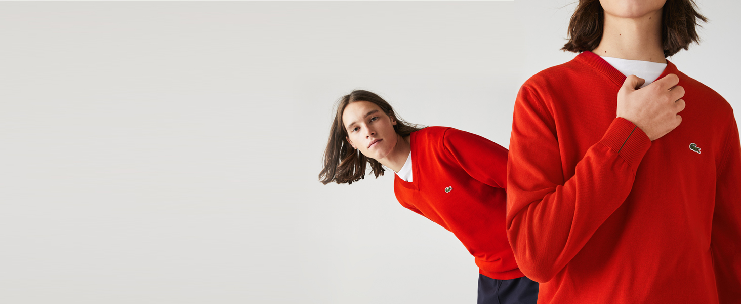 Men's red jersey sweater over Lacoste white cotton T-shirt