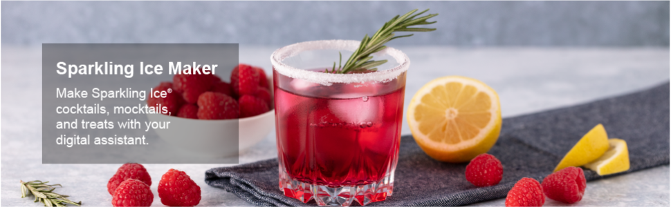 Sparkling Ice Maker. Make Sparkling Ice cocktails, mocktails, and treats with your digital assistant