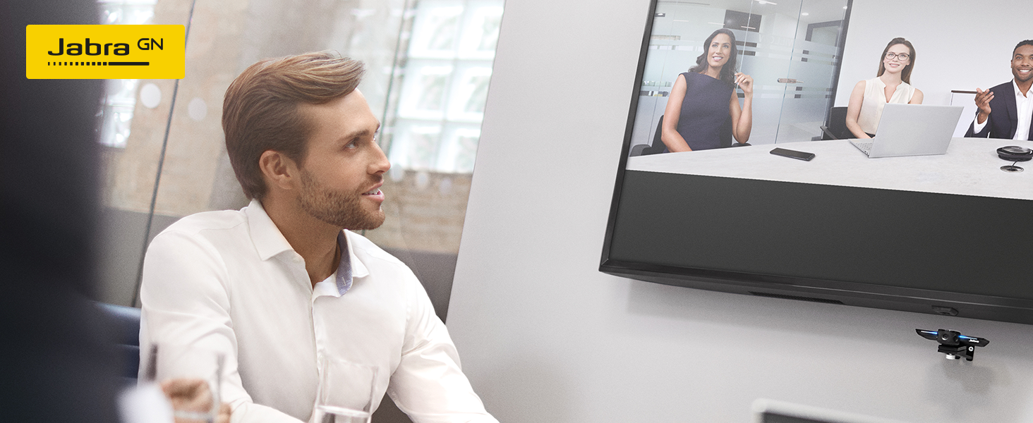 Jabra PanaCast is a plug-and-play video solution, designed to improve meetings in huddle rooms