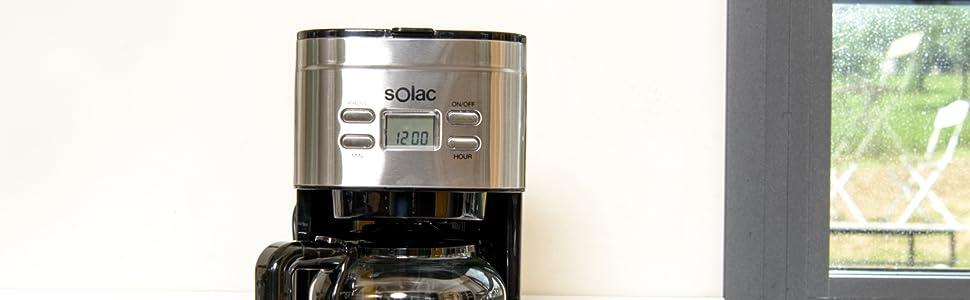 Solac Stillo CF4028 - Cafetera de goteo programable con jarra vidrio de 1.5 l, 12 tazas