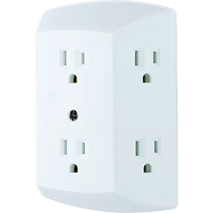 Ge 6 Outlet Wall Plug Adapter Power Strip Extra Wide