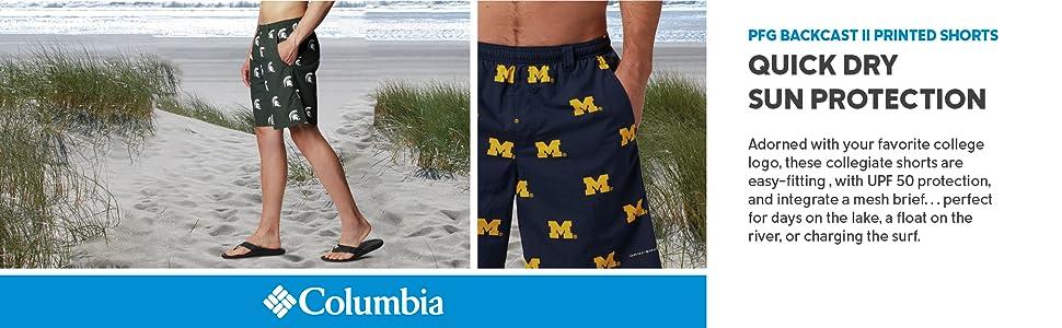 Columbia Men's Collegiate PFG Backcast II Printed Shorts